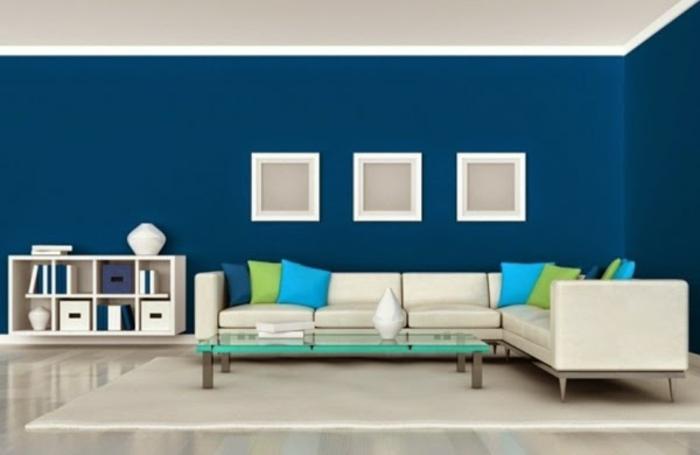 Wandfarbe Blau Modernes Wohnzimmer Gestalten