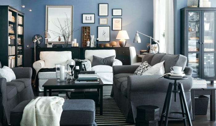 wohnzimmer mit fuboden in holzoptik und wandfarbe petrol blau ...