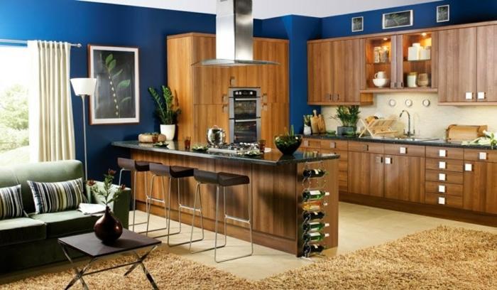 wandfarbe-blau-wunderschöne-küche