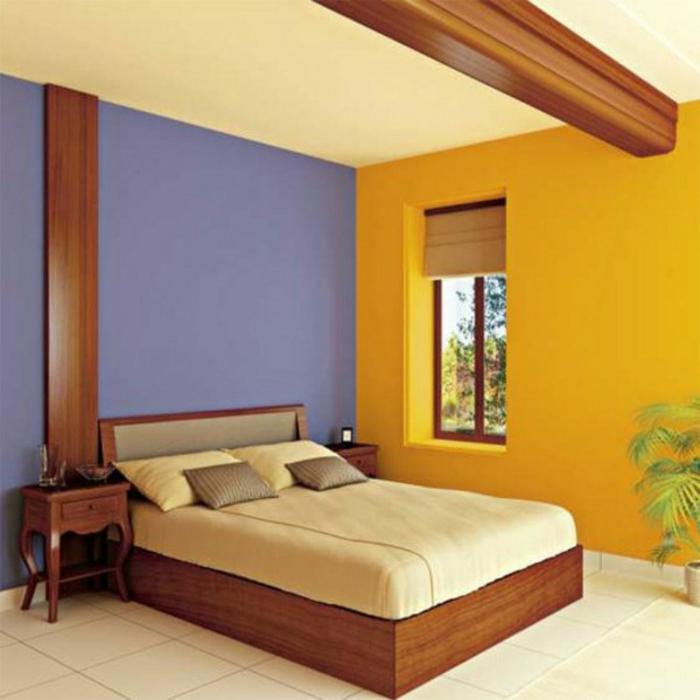 wandfarben-kombinationen-lila-und-orange-modernes-gemütliches ...