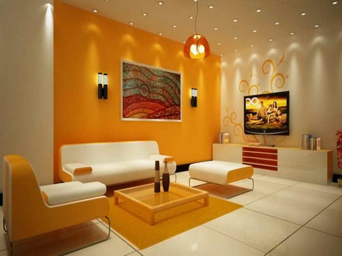 wandfarben-kombinationen-orange-wand-weiße-möbel
