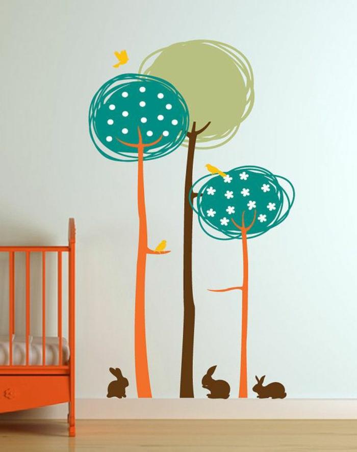 wandtattoo-kinderzimmer-Bäume-Hasen-bunt