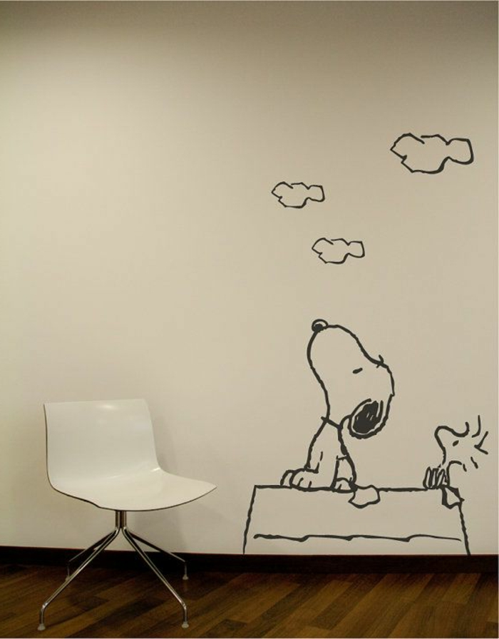 wandtattoo-kinderzimmer-Snoopy-weiße-Wand