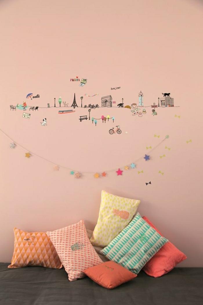wandtattoo-kinderzimmer-Städte-Hauptstädte-Sehenswürdigkeiten-Girlande-rosa-Wand
