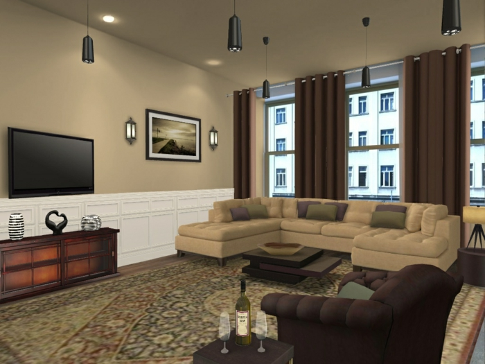 Curtains For White Walls And Brown Furniture