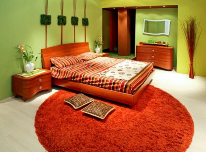 wanfarben-kombinationen-orange-teppich-im-schlafzimmer