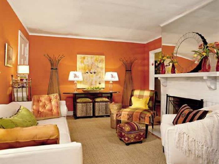 wanfarben-kombinationen-orange-toller-weißer-kamin