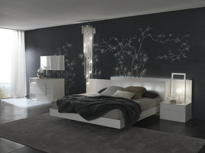 Elegant Innenarchitektur Design: Schlafzimmer Schwarz Weiß. 63 Kreative Ideen Für  Wandfarben Kombinationen