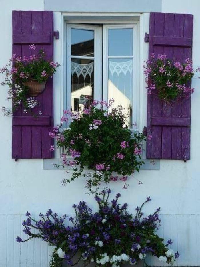 weißes-Haus-lila-Fensterläden-exotische-Blumen