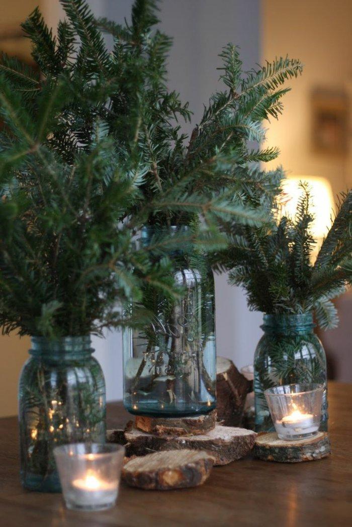 weihnachtliche-Deko-Tannenzweige-Einmachgläser-Kerzen