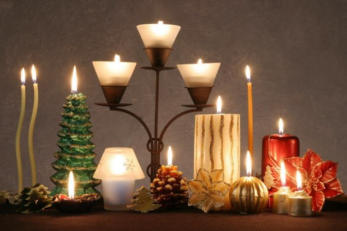weihnachtsdeko-Deko-Ideen-Tischdekoration-Kerzen-verschiedene-Größen