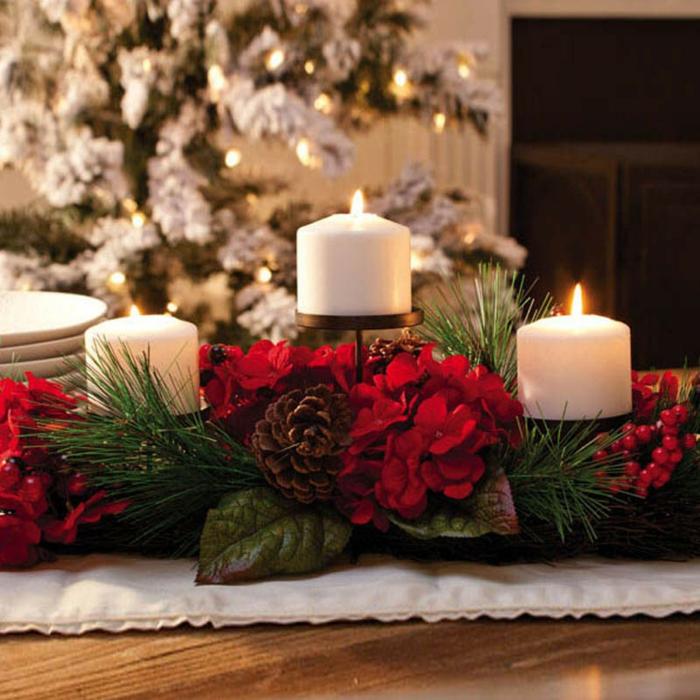 weihnachtsdeko-basteln-Tischdekoration-Kerzen