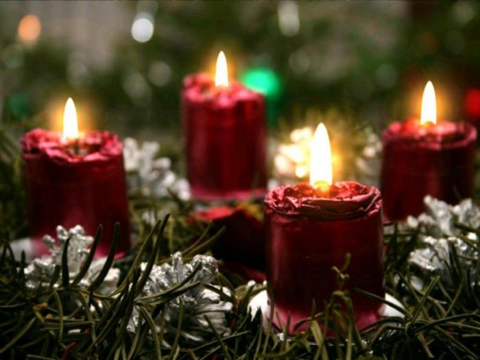 weihnachtsdeko-basteln-handgemachte-Kerzen