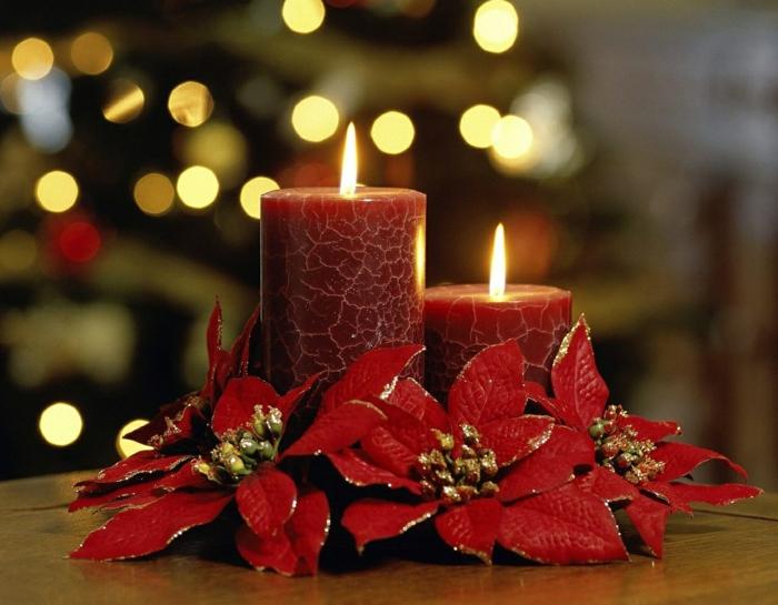 weihnachtsdeko-selber-machen-Tischdekoration-rote-Kerze