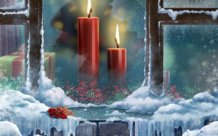 weihnachtsdekoration-ideen-Fenster-Schnee-rote-Kerzen