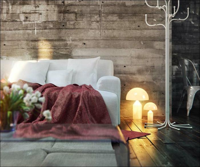 wohnwand-aus-holz-romantisches-wohnzimmer-mit-einem-weißen-sofa
