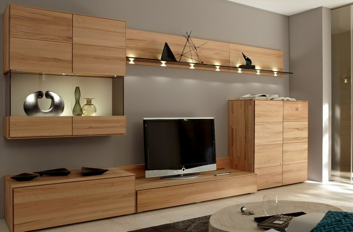 wohnwand design holz. Black Bedroom Furniture Sets. Home Design Ideas