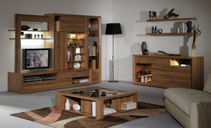 Moderne möbel holz  Wohnwand aus Holz für mehr Gemütlichkeit im Zimmer! - Archzine.net