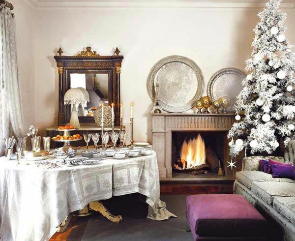 wunderschöne-Tischdekoration-weihnachtsbaum-künstlich-Kamin