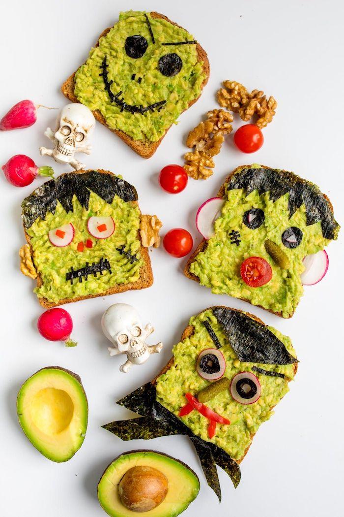 zombie avocado toast mit tomaten seetang oliven radischen schnelle halloween rezepte für die party