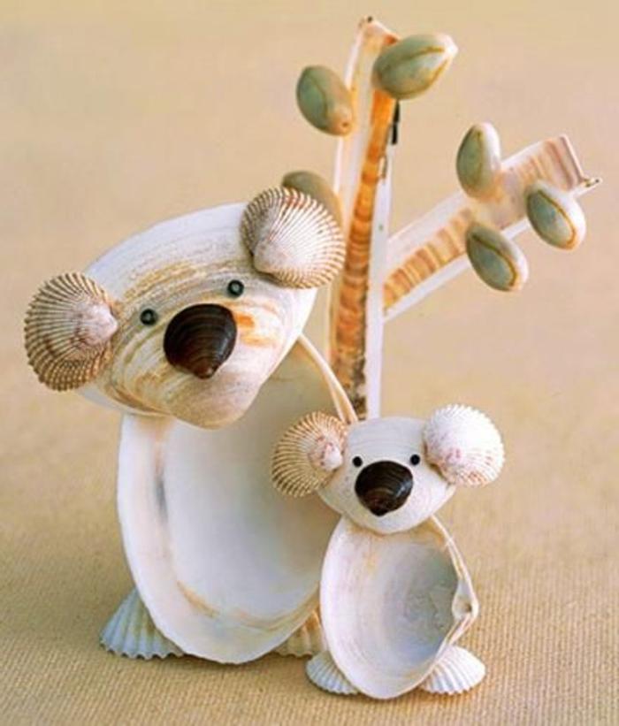zwei-Bären-Baum-Muscheln-Modelle