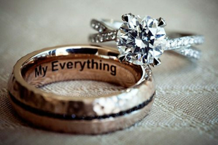18-eleganter-Ehering-gravierte-Botschaft-romantisch-Verlobungsring-Diamant