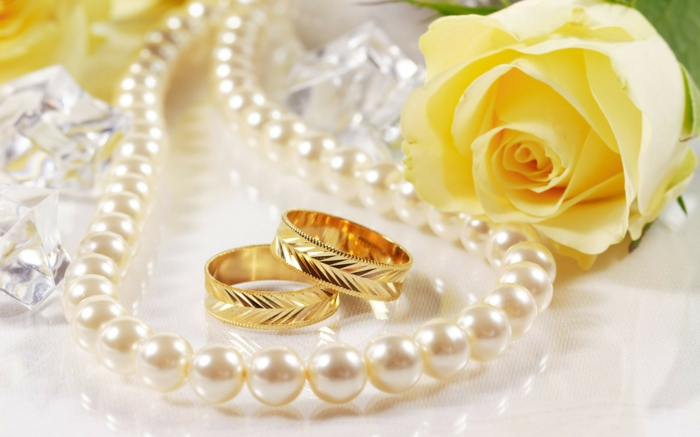 22-vintage-Modell-goldene-hochzeitsringe-Perlen-gelbe-Rose