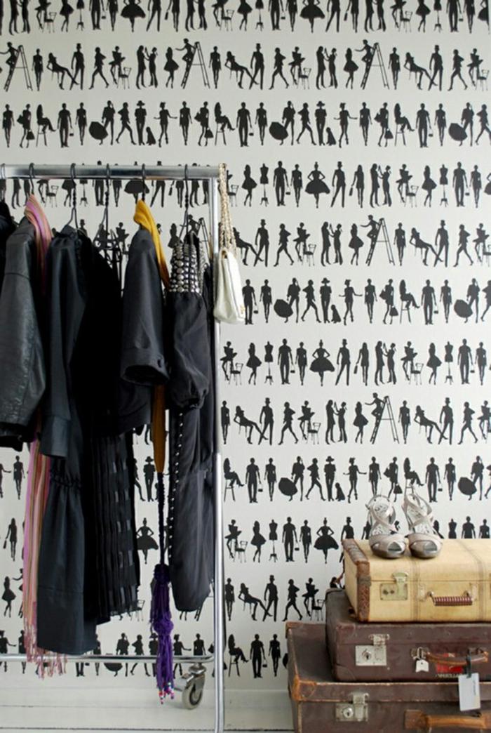Atelier-Designer-Kleider-retro-tapete-schwarz-weiß