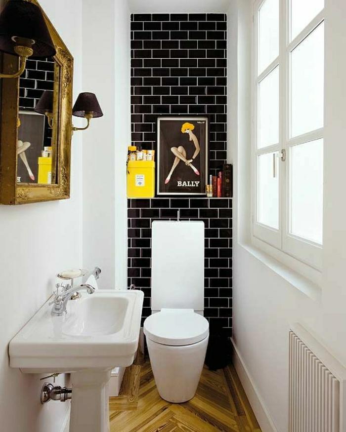 Badezimmer-Deko-Ideen-Wandbild-schwarze-Ziegelwand-gelber-Kasten