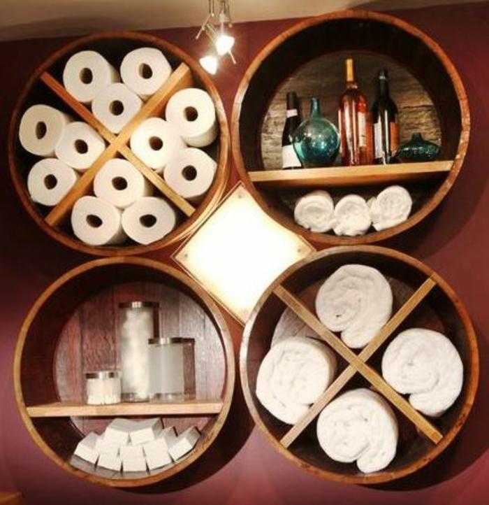 Badezimmer-diy-deko-hölzerne-Runden-Accessoires