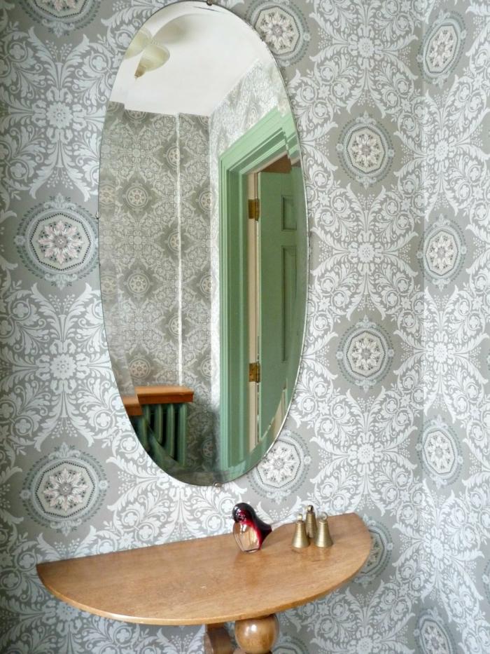 Badezimmer-retro-Modell-Tapete-grau-weiße-Dekoration