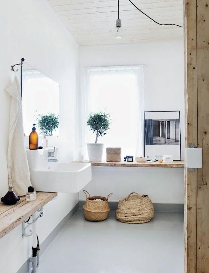 Badezimmer-rustikaler-Stil-dekoideen-Topfpflanze
