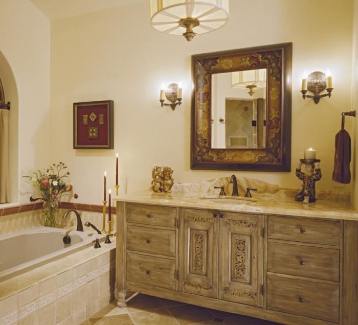 Badezimmer-vintage-Gestaltung-Möbel-Dekoration