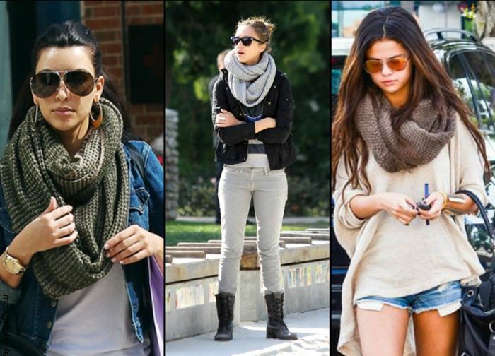 Berühmtheiten-Selena-Gomez-Kim-Kardashian-strickmuster-schal