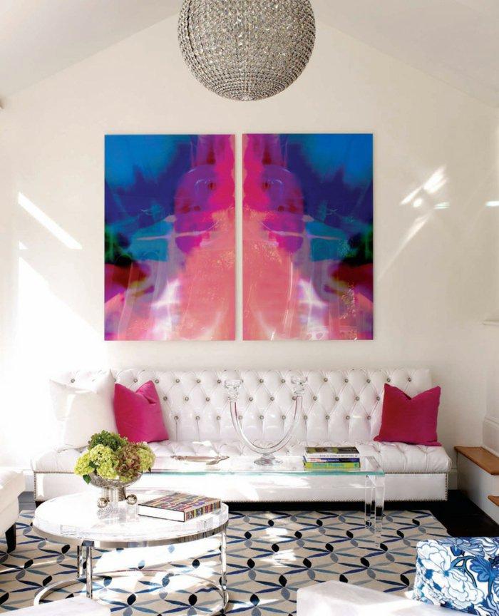 Bilder-fürs-wohnzimmer-abstrakte-Zeichnung-grelle-Nuancen