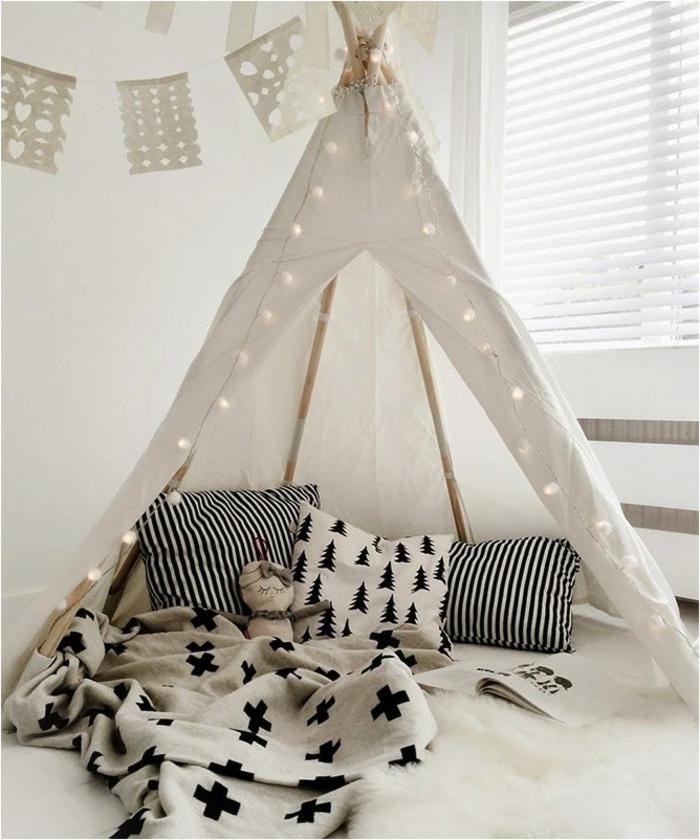 Boho-Kinderzimmer-Gestaltung-weißes-tipi-Zelt