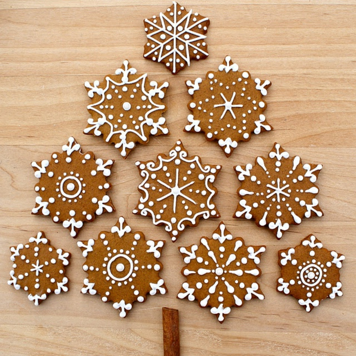 Cookies-Weihnachten-Winter-weiße-Dekoration