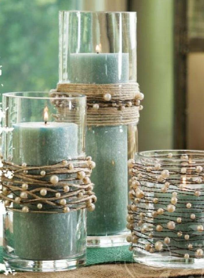 DIY-Deko-rustikaler-Stil-grüne-Kerzen-Schnur-Perlen
