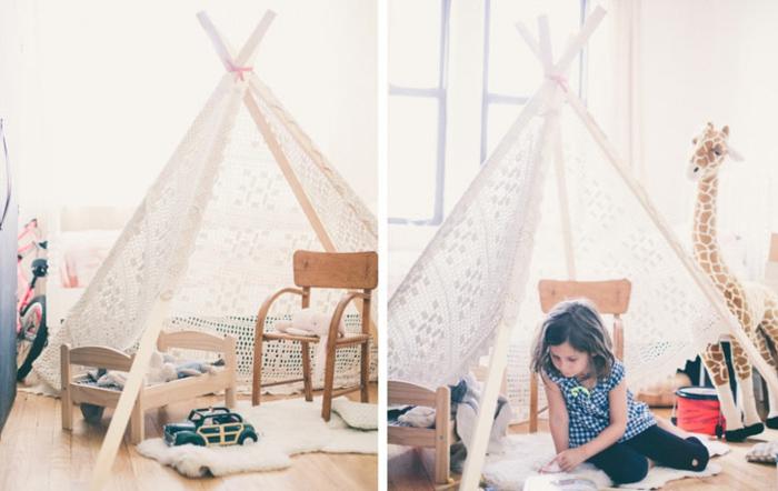 DIY-Idee-handgemachte-tipi-zelte-Spitze-Spielraum-für-Kinder