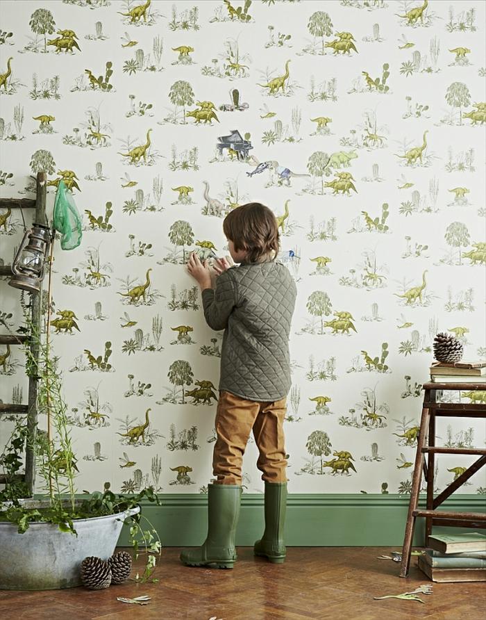 DIY-Projekt-vintage-Tapete-Idee-kleiner-Junge