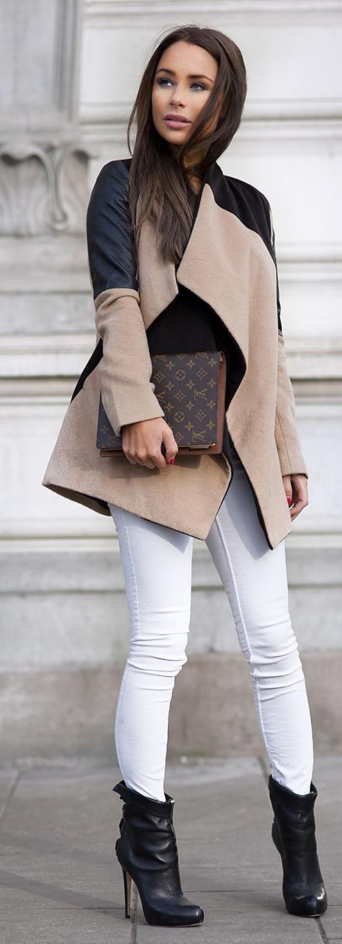 Damen-Mantel-Karamell-Farbe-schwarze-Teile-schöne-Kombination