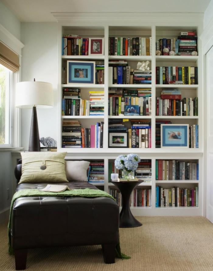 Designer-leselampe-bett-Leder-Sofa-Bücherwand
