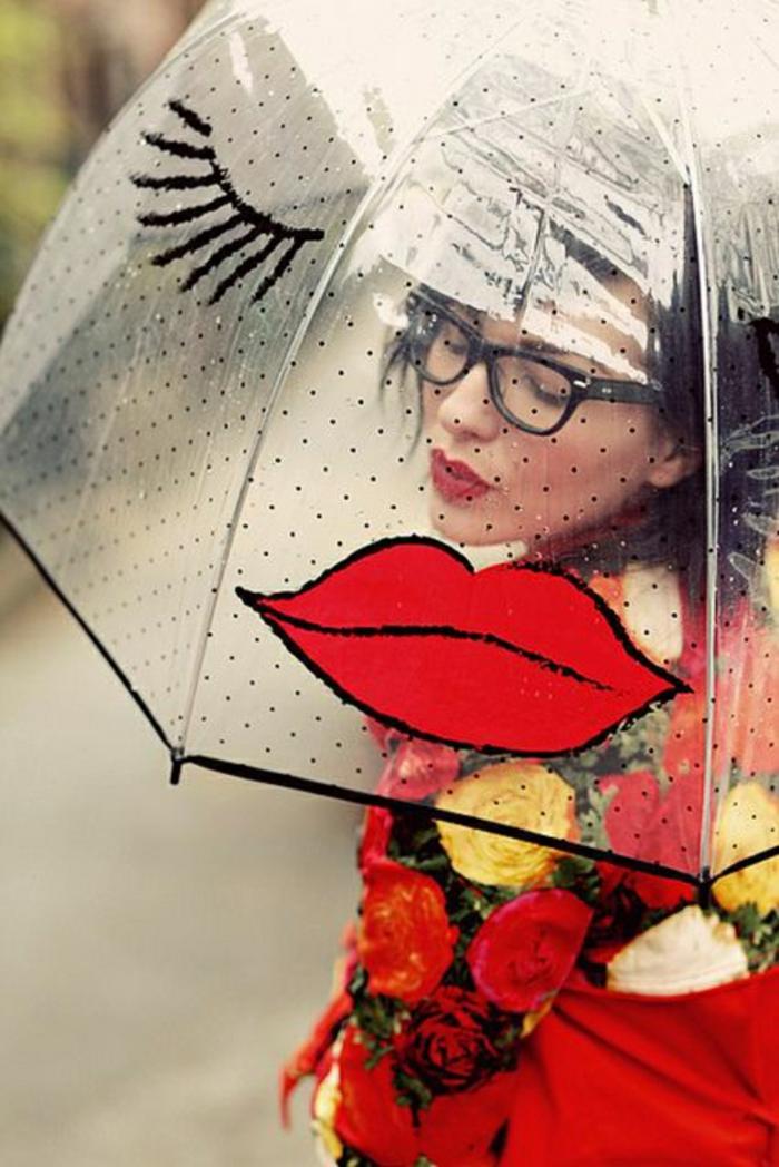 Durchsichtiger-Regenschirm-Lippe-und-wimper