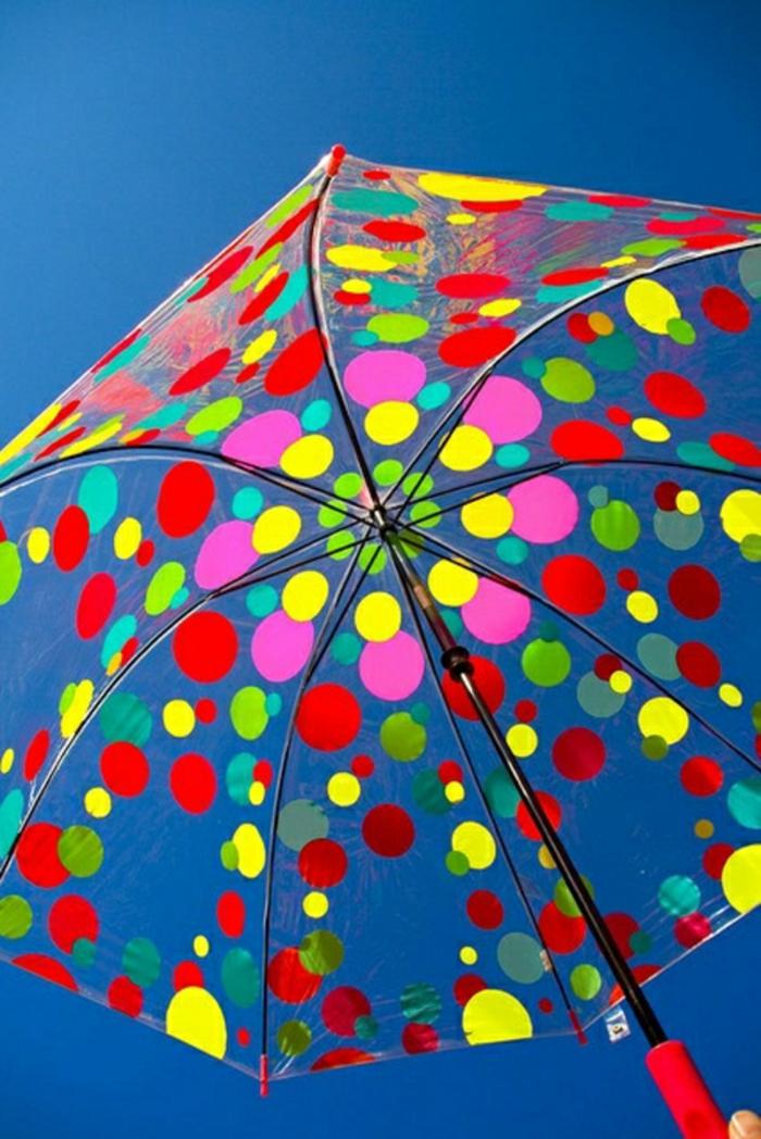 Durchsichtiger-Regenschirm-punkte-muster-himmel-blau