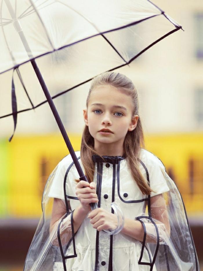 Durchsichtiger-Regenschirm-regenmantel-mädchen
