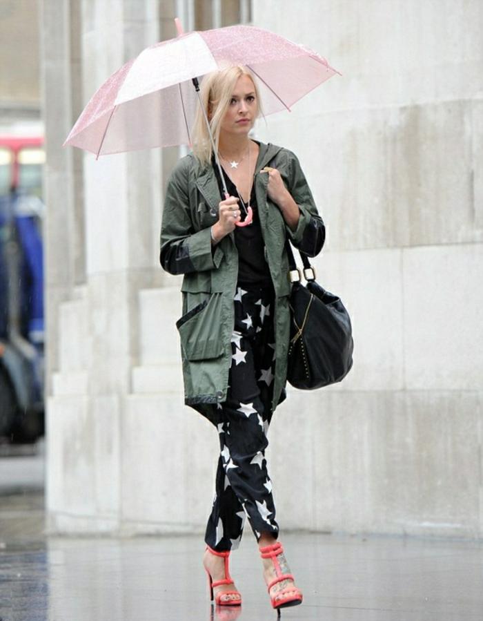 Durchsichtiger-Regenschirm-rosig-grün-regen-jacke