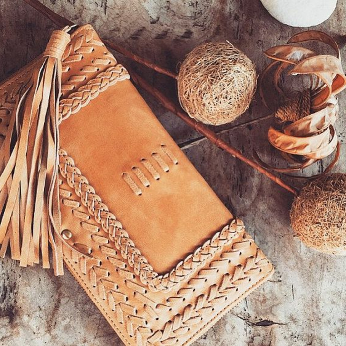 Frauen-Geldtasche-Clutch-Leder-Fransen-Boho-Stil