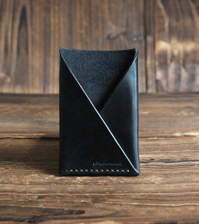 Herren-Geldbörse-minimalistisches-schwarzes-Modell-Leder