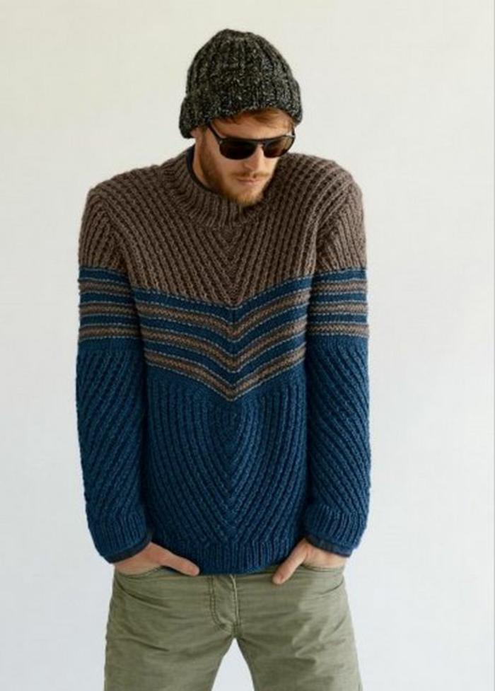 Herren-Pullover-schlichtes-Modell-blau-braun