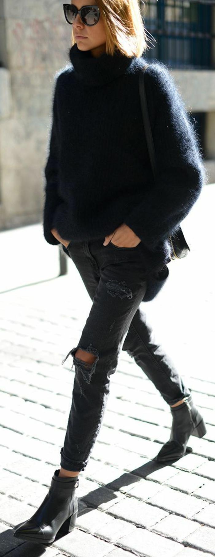 Hipster-Look-pullover-damen-zerrissene-Jeans